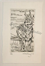 wildlife Pronghorn Hills EBSQ Loberg HAND Pulled FINE ART etching Print antelope