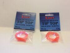 "Raven Silicone Tubing 2 Packs Flourescent Orange 3/32 I.D. 2 Packs. 24"" Total"