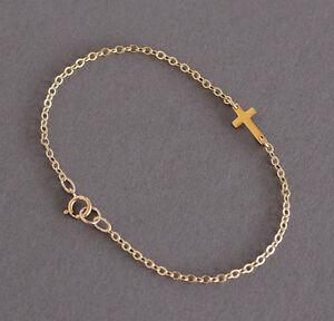 U&C Sundance SIDEWAYS Tiny Gold Cross on 14k GF Gold Filled Chain Bracelet