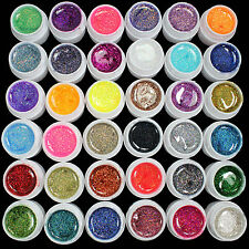 36 PCS Glitter Mix Colors UV Builder Gel Acrylic Set for Nail Art DIY Tips