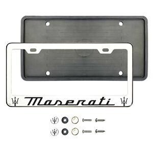 Mas3rati Black Laser Etched Chrome Stainless Steel License Frame Silicone Guard
