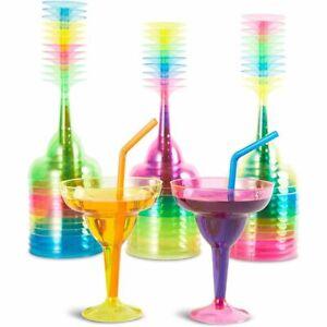 36 Plastic Margarita Cocktail Beverage Glasses, Neon Blue Green Pink Yellow 12oz