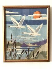 Vintage Wool Embroidered picture of a sweet landscape scene with geese