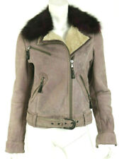 HENRY BEGUELIN Mauve Suede & Purple Fox Fur Shearling Motorcycle Jacket 42