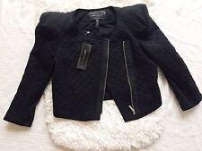 $188!! NWT BCBG MAXAZRIA Black Pleated Blazer Zip Up Jacket Sz S Classic Chic