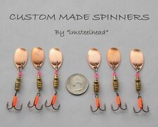 1 Lot of 6 Custom Trout Bass Walleye #2 Copper French Blade Spinners 1/6 Oz. Ea.