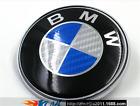 NEW BMW 82mm  Blue Silver Carbon Fiber Emblems Trunk Hood Badge Logo Set