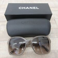 CHANEL 5308-B $600 Square Jewel Oversized Sunglasses in Taupe Silver 1416S5