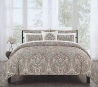 Nicole Miller 3 pc Duvet Cover Set Full Queen Paisley Dusty Brick Teal - NEW
