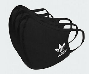 ADIDAS ORIGINALS FACE MASK COVER WASHABLE XS/S BLACK WHITE TREFOIL 3 PACK NEW