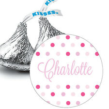108 Personalized Baby Girl Shower Hershey Kiss Stickers Favors Pink Polka Dots