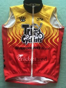 Voler Mens Cycling Wind vest/jersey XS full zipper front Red Yellow X Small