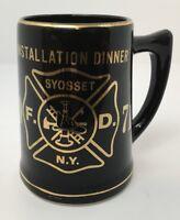 Vintage Fire Department Stein Mug Installation Dinner Syosset NY Black Gold 1971