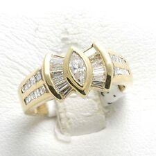 New Diamond Ring 1.5 carat marquise baguette 14k yellow gold bezel channel set