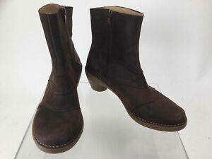 El Naturalista Brown Leather Side-Zip Booties 40