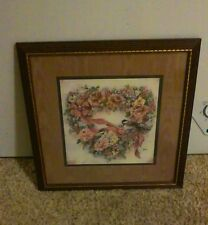 "Home Interiors ""Chicadees In Floral Wrea