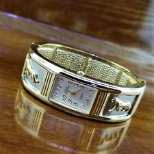 New Vintage Designer Sarah Coventry Gold & Silver Panther Bangle Bracelet Watch