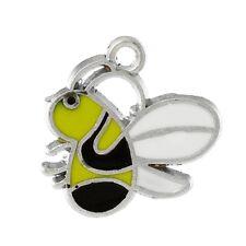 4 Enamel Bumble Bee Charms Yellow Black
