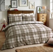 100% Brushed Cotton Flannel Natural Check Single Duvet Cover Set Pillow Case