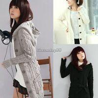 Women Long Sleeve Jacket Coat Hoodie Sweater Cardigan Trench Long Hooded Outwear