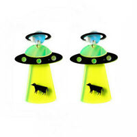 1Pair Funny Creative Acrylic Resin UFO Earrings Dangle Drop Stud Jewelry Gift