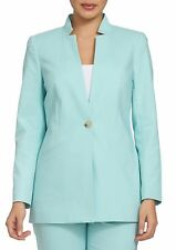 NWT CHAUS BLUE COTTON CAREER LONG BLAZER JACKET SIZE 8 $99