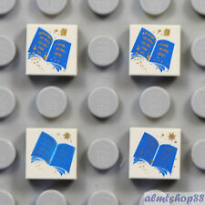 LEGO Harry Potter - 4 pcs Lot Open Blue Book - 1x1 Tile White Decorated Print