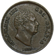 More details for 1835 third farthing - william iv british copper coin - nice