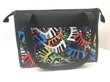 """BINGO ZIPPER BAG """" Musical Notes"""" HANDMADE 6 OUTSIDE  8 INSIDE MARKER POCKETS"""