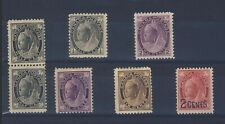 7x Canada Victoria stamps 5x Maple Leaf & 2x Numeral Guide Value = $177.00