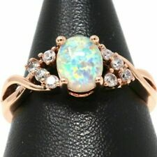 Unique Vintage Oval Fire Opal Ring Women Jewelry Gift 14K Rose Gold Finish