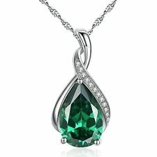 Mabella 3.15 Carat Pear Cut Emerald Sterling Silver Pendant Necklace with 18 inch Chain