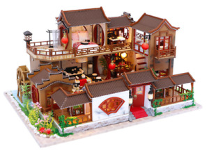 DIY Chinese House Wooden Miniature Dollhouse Furniture Kids Toys Christmas Gifts