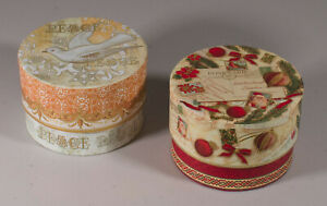 New Punch Studio Set of 2 Christmas Decorative Boxes w/ Scented Soaps