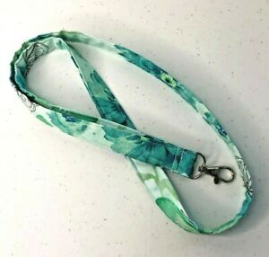 """Teal Aqua Floral Fabric Lanyard ID Badge Key Holder 20"""" x 3/4"""" Cotton Quilted"""