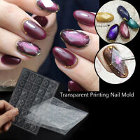 New 1 Sheet Plastic Nail Art Gem Stickers Transparent Printing Nail Mold DIY~