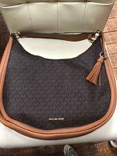 Michael Kors Lydia Large  Tassel Hobo Bag Signature Brown Bag MK