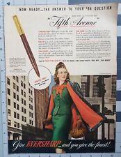 1943 Eversharp Fifth Avenue Fountain Pen 1940s Photo Vintage Print Ad