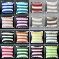 """18"""" Stripe Print Casual Flax Sofa Bed Home Decor Pillow Case Cushion Cover Throw"""