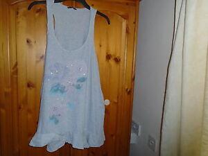 1 Grey longer length sleeveless top, beaded flower design, GEORGE, size 14