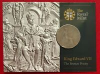 1908 KING EDWARD VII PENNY SEALED IN OFFICIAL ROYAL MINT GIFT PACK UNUSUAL GIFT