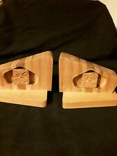Pair Wooden Bookends,  Handcrafted,  Used