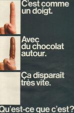 Publicité 1968  Biscuit FINGER de CADBURY  sablé chocolat au lait