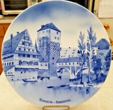 Nurnberg Henkersteg Blue & White Plate West Germany Vintage Pre -1990