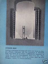 PUBLICITÉ 1956 JACQUES BINY APPLIQUE EN LAITON VERNI - ADVERTISING