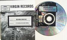 BELINDA CARLISLE CD It's Too Real ( Big Scary Animal ) USA PROMO w/ Art UNPLAYED