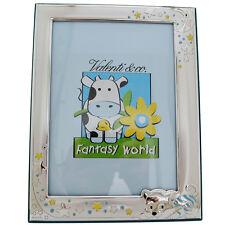 Cornice portafoto per bimbo gattino e stelle in argento retro in legno celeste