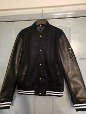 TOMMY HILFIGER Size Large(40 US)Black/White  Leather/ Wool Varsity Jacket $295