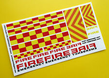 Ranura de coche Scalextric 1/32nd Fuego Uk Emergencia Escala Stickers Calcomanías Set Completo