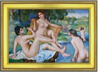 Framed, Renoir The Bathers Repro, Quality Hand Painted Oil Painting 24x36in